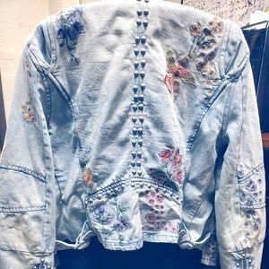 Blank NYC Floral Embellished Denim Jacket